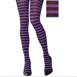Hot Topic Black & Purple Stripe Witch Goth Tights